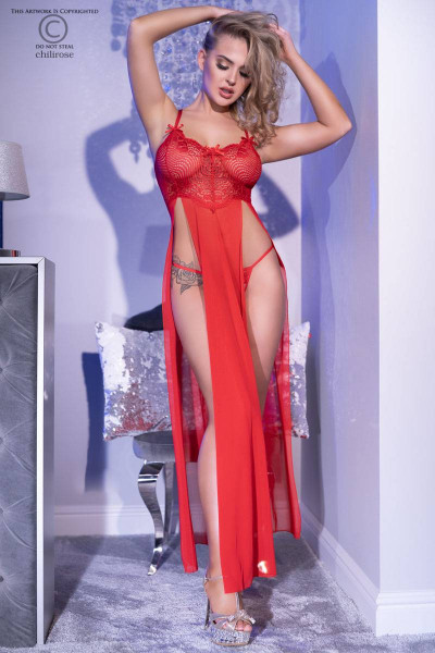 Gown Kleid in Rot Ouvert String