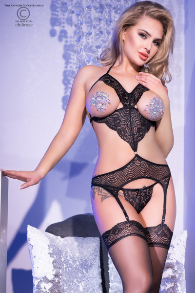 Bustier Set mit glitzernden Nipple Covers